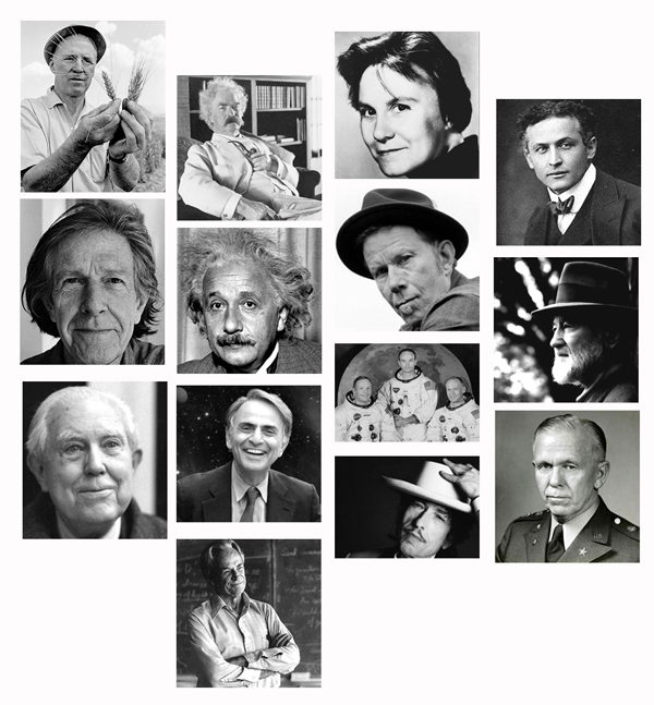 Starting with the wheat guy, and moving right: Norman Borlaug, Mark Twain, Harper Lee, Harry Houdini, John Cage, Albert Einstein, Tom Waits, Charles Ives, Elliott Carter, Carl Sagan, Bob Dylan, George Marshall, Richard Feynman