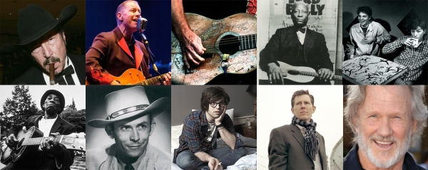 Clockwise from top left: Kinky Friedman, Reverend Horton Heat, Willie Nelson, Lead Belly, Uncle Tupelo, Kris Kristofferson, Robbie Fulks, Ryan Adams, Hank Williams, Mississippi John Hurt